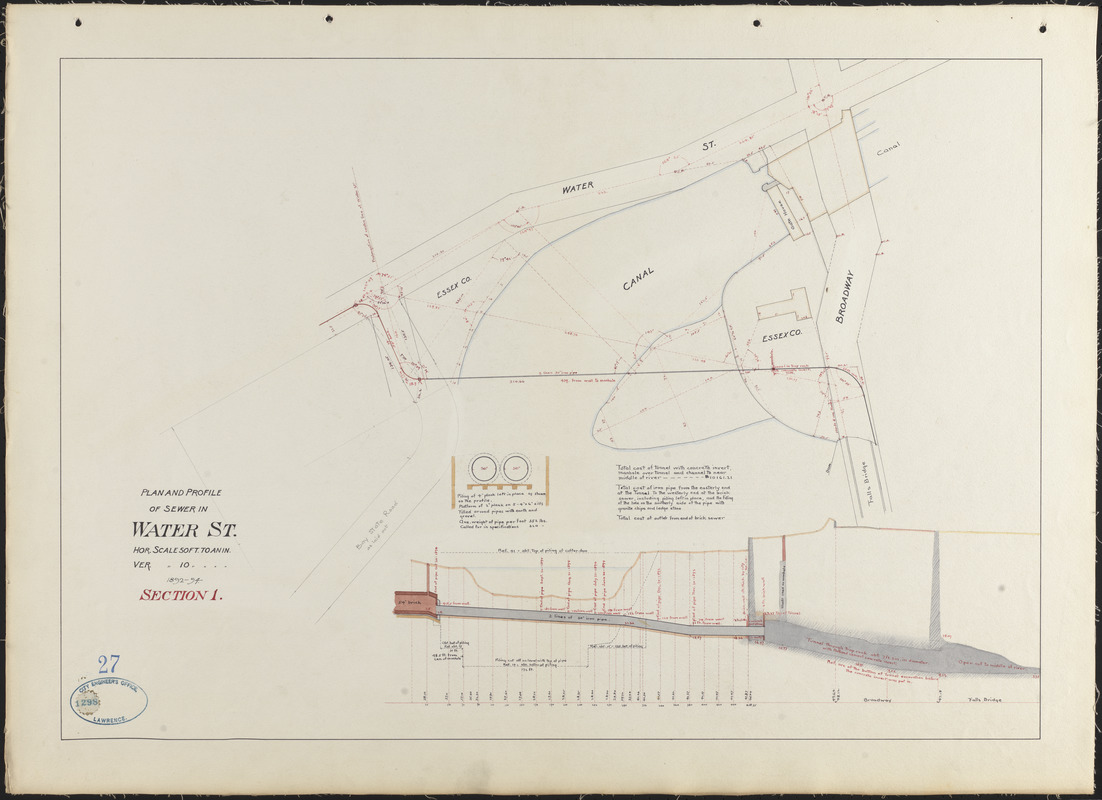 Plan and profile of sewer in Water St., section 1