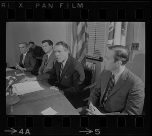 Jack Flannery, Robert L. Yasi, Lt. Gov. Francis Sargent, and Donald R. Dwight at press conference to announce appointment of aides