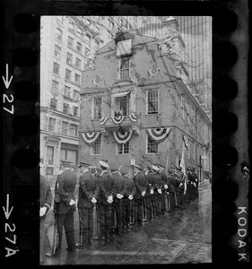 Unidentified uniformed man speaking from balcony of the Old State House to crowd of uniformed men on Fourth of July