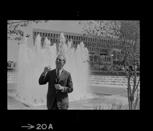 Mayor dedicates fountain garden -- A smiling Mayor Kevin White raises his hands signaling the start of the fountain garden in the City Hall Plaza in the Government Center