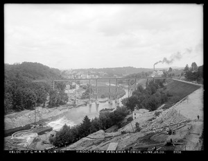 Relocation Central Massachusetts Railroad, viaduct from cableway tower, Clinton, Mass., Jun. 26, 1903