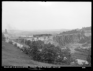 Relocation Central Massachusetts Railroad, viaduct, from the east, Clinton, Mass., Jul. 1, 1903
