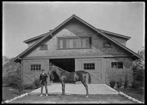 Riding horse and handler. Mrs. Skeel's stable, 7 Gates