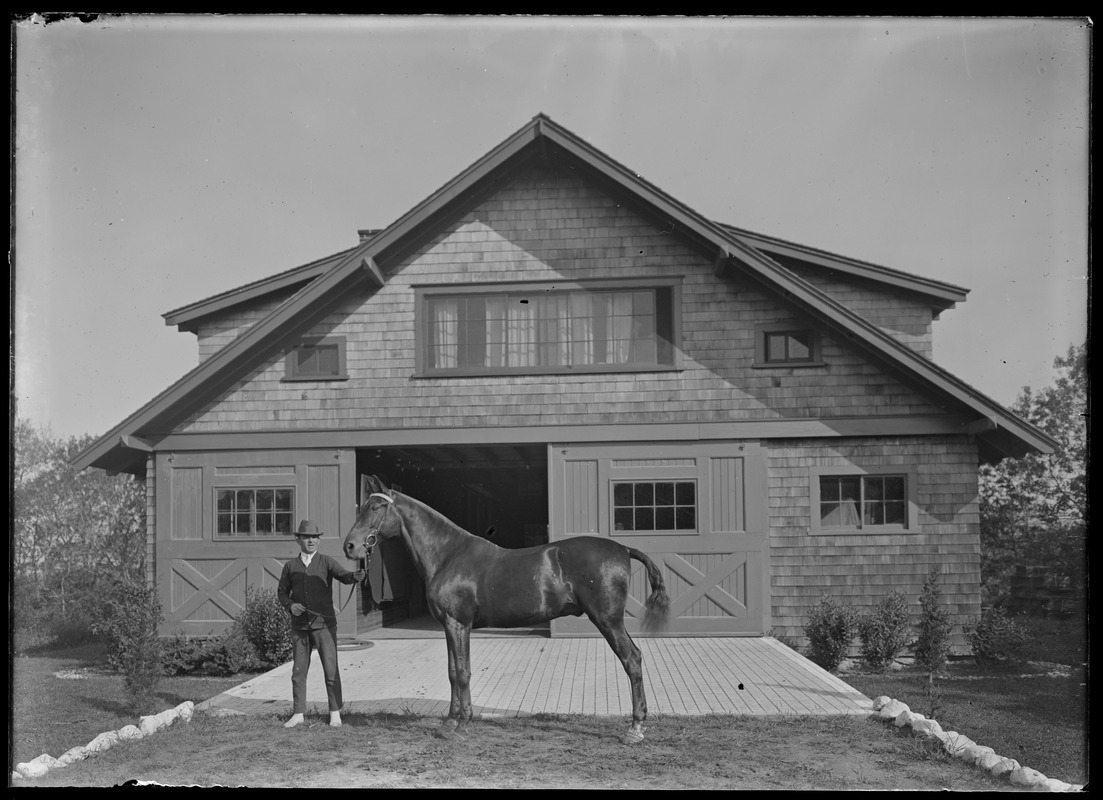 Horse and handler at 7 Gates - possibly Mrs. Skeel's barn