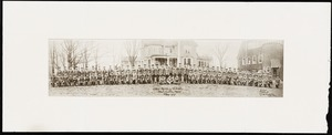 Newton photographs oversize : Allen House : 35 Webster Street / [compiled by the staff of the Newton Free Library]. - Allen House : 35 Webster Street - [Photograph of students of the Allen Military School in uniform, Class of 1919] -