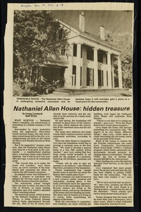 Newton photographs oversize : Allen House : 35 Webster Street / [compiled by the staff of the Newton Free Library]. - Allen House : 35 Webster Street - Nathaniel Allen House : Hidden Treasure -