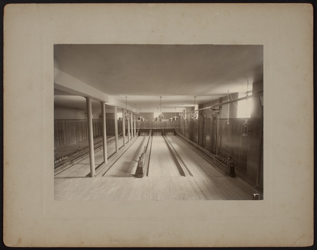 Hunnewell Club photographs - Original Bowling Alley -