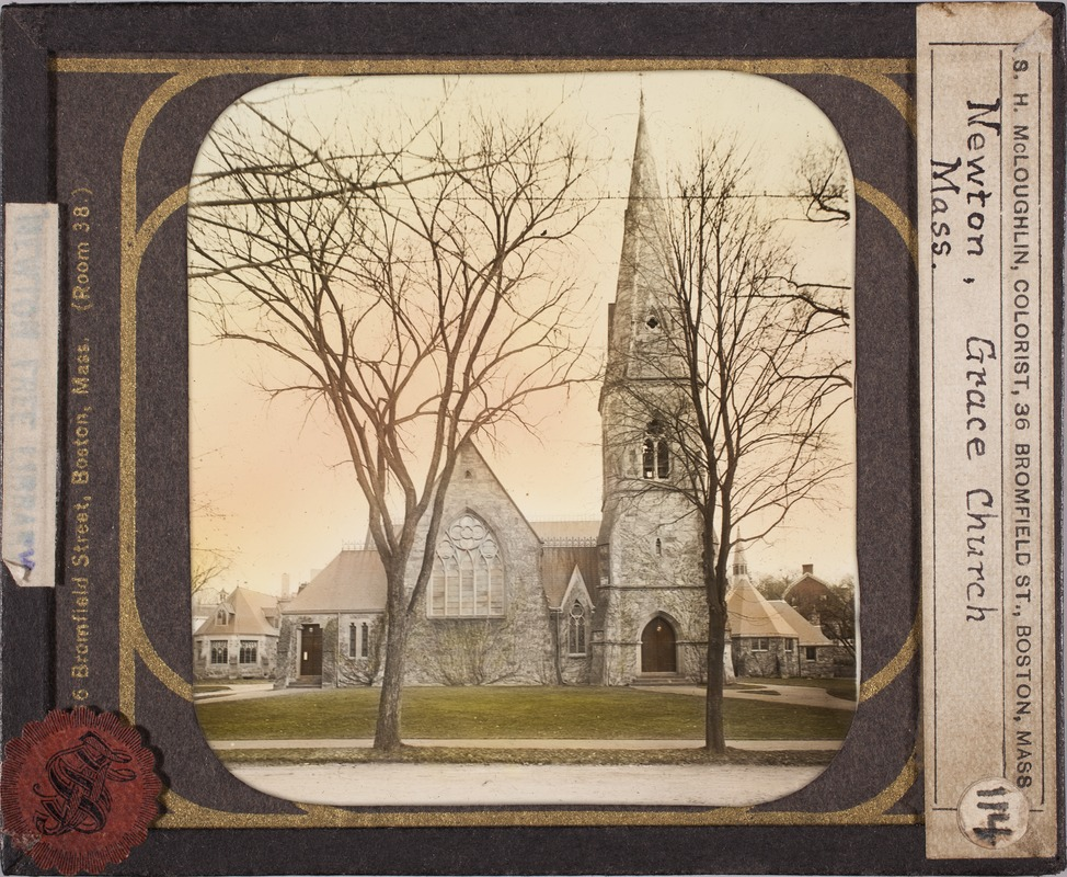 Newton photographs collection, lantern slides - Grace Church, Newton, Mass -