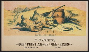 Newton photographs collection : advertising trade cards - Advertising trade cards - Newton trade cards - F. C. Howe, Job Printing of All Kinds, Newtonville, Mass. - Catch Him Boys -