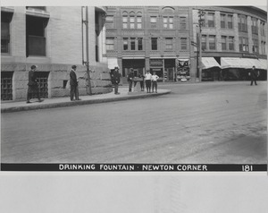 Newton Forestry Department Photographs, 1908-1918 - Drinking Fountain - Newton Corner -