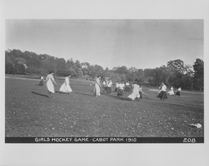 Newton Forestry Department Photographs, 1908-1918 - Girls Hockey Game - Cabot Park, 1910 -