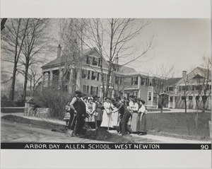 Newton Forestry Department Photographs, 1908-1918 - Arbor Day - Allen School - West Newton -