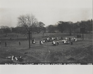 Newton Forestry Department Photographs, 1908-1918 - Basketball Court - Newton Centre Playground -