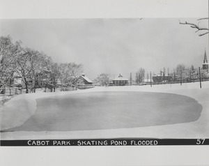 Newton Forestry Department Photographs, 1908-1918 - Cabot Park - Skating Pond Flooded -