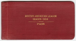 Boston Red Sox American League Championship pass, 1916
