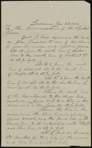 Letter to the commissioners of the Spiket River from L.P.E. Richards, Lawrence, Jan 29, 1884