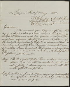 Letter to Spicket River commissioners from E. B. Currier, Lawrence Mass, January 1884