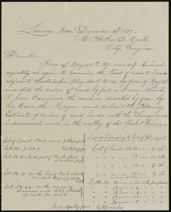 Letter to Mr. Anthony D Marble from E. B. Currier, Lawrence Mass., December 16th 1887