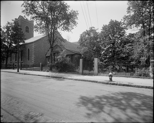Unitarian church and burying ground at Eliot Street and Centre Street, Jamaica Plain