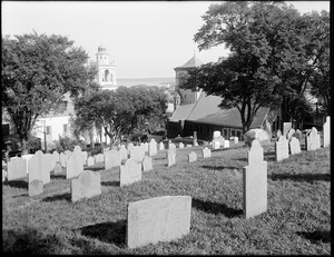 The First Church in Plymouth and Church of the Pilgrimage, burial hill, Plymouth, Mass.