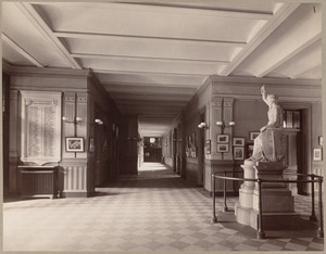 Corridor, - Statue of Liberty and tablets.