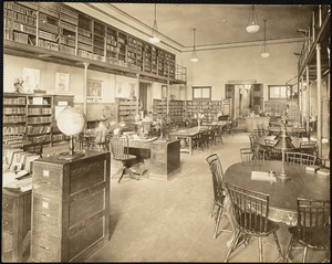 Interior view of the Boston Public Library's Central Branch, probably the children's room