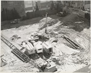 Excavation of the construction site for the Boston Public Library Johnson building, September 1969
