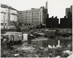 Excavation of the construction site for the Boston Public Library Johnson building, August 1969