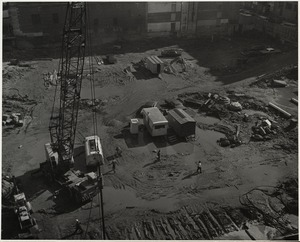 Aerial view of the construction site for the Boston Public Library Johnson building, October 1969