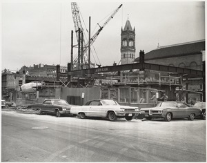 View of the Boston Public Library Johnson building construction site from the street, November 1970