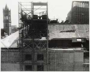 Boston Public Library Johnson building construction, July 1971
