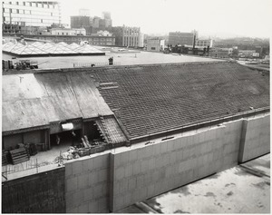 View of Boston Public Library Johnson building roof during construction, October 1971