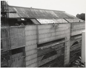 View of Boston Public Library Johnson building roof during construction, September 1971