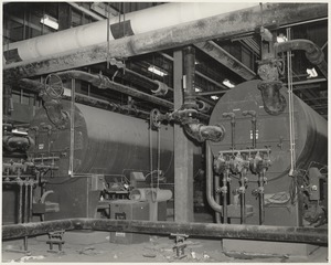 View of machinery in Boston Public Library Johnson building during construction, March 1972