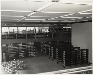 Book stacks in place, Boston Public Library Johnson building construction, October 1972