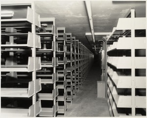 Book stacks in place, Boston Public Library Johnson building construction, June 1972