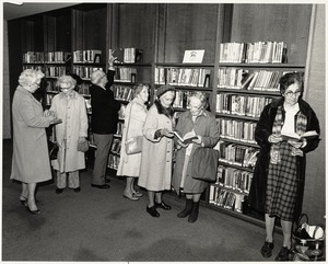 Readers in the Johnson building