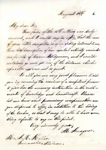 Letter from Michael Anagnos to Capt. Keller, August 16, 1886