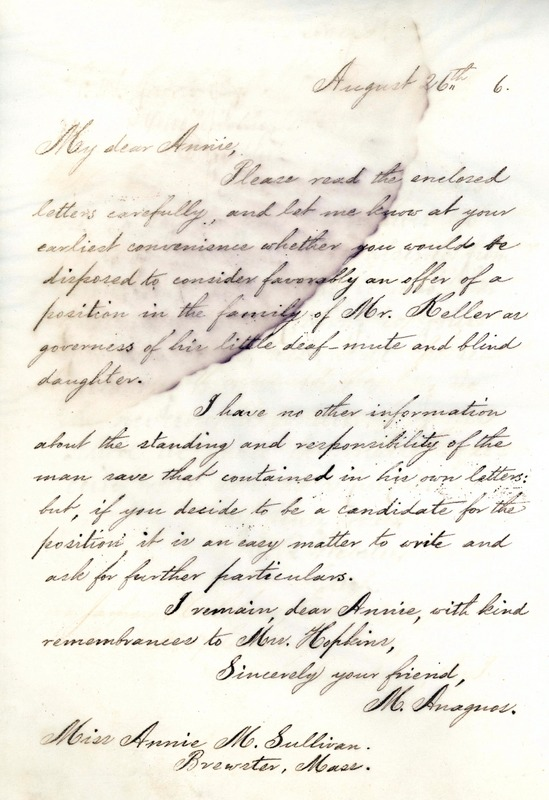 Letter from Michael Anagnos to Annie Sullivan, August 26, 1886