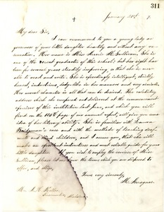 Letter from Michael Anagnos to Capt. Keller, January 21, 1887