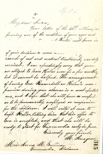 Letter from Michael Anagnos to Annie Sullivan, April 9, 1889
