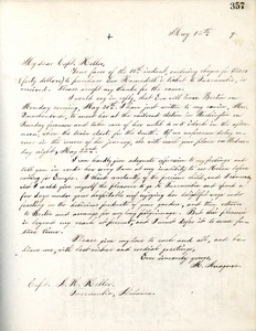 Letter from Michael Anagnos to Capt. Keller, May 12, 1889