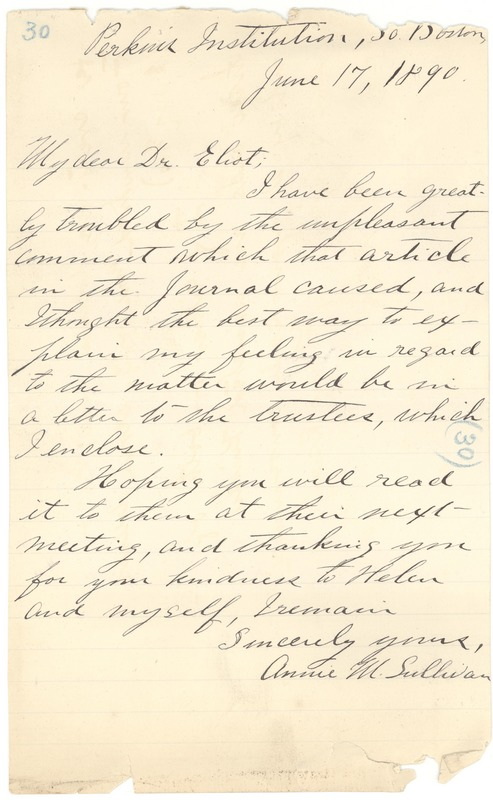 Letter from Annie Sullivan to Dr. Eliot, June 17, 1890