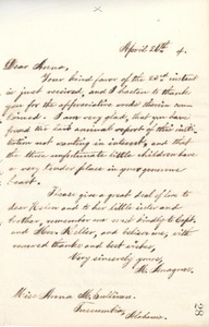Letter from Michael Anagnos to Annie Sullivan, April 26, 1894