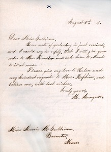 Letter from Michael Anagnos to Annie Sullivan, August 3, 1894