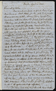 Letter from Samuel May, Boston, to Mary Anne Estlin, April 10, 1854