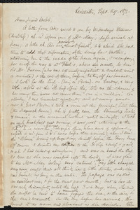 Letter from Samuel May, Leicester, [Mass.], to Richard Davis Webb, Sept. 29, 1871