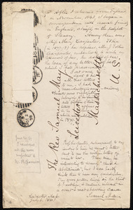 Notes on an envelope from Samuel May, Leicester, Mass., July 6, 1880