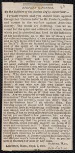 Letter from Samuel May, Leicester, Mass., to the Editors of the Boston Daily Advertiser, Sept. 9, 1881