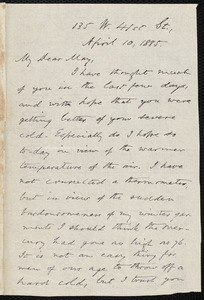 Letter from Oliver Johnson, [New York], to Samuel May, April 10, 1885